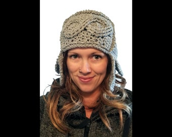 Cool Cable Aviator Crochet Hat with ear flaps, cables, cabled, winter beanie, steampunk flight goggles download worsted advanced adult