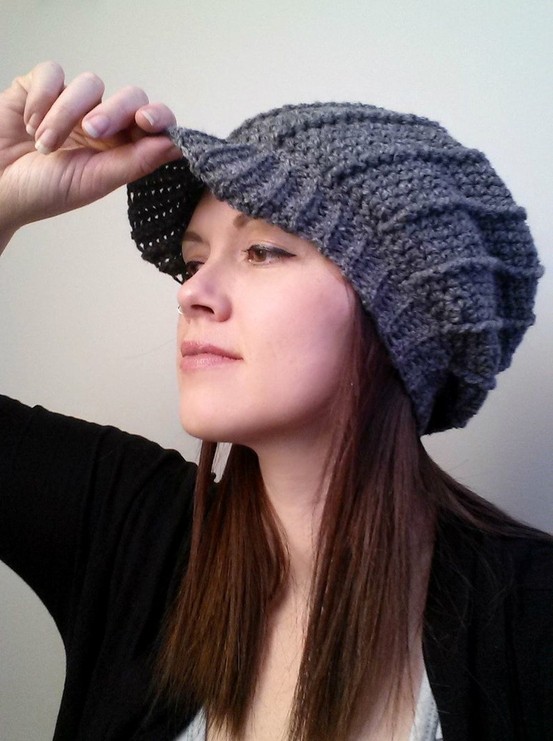 32fdf1b5 New Brunswick Slouch Hat, Crochet Pattern Ribbed Brimmed Peak Cap, Worsted  Wool Easy Spiral Effect Winter Cozy Adult Youth Toddler, Textured