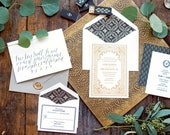Gold Foil Wedding Invitation, Letterpress Wedding Invitation, Formal Wedding Invitation, Wedding Invitation Suite, White and Gold