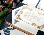 Art Nouveau Wedding Invitation, Gold Foil Wedding Invite, Letterpress Invitation, Art Deco Invitation Suite, Blue INVITATION SAMPLE PACK