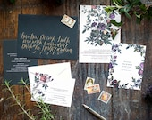 Formal Wedding Invitation, Vintage Flower Invitation, Floral Wedding Invitation, Botanical Illustration, Vintage, Marsala, Jewel Tones