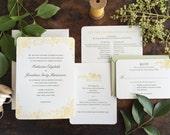 Wildflower Wedding Invitation, Rustic Wedding Invitation, Letterpress Wedding Invitation, Flower Wedding Invitation