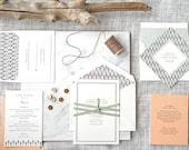 Beach Wedding Invitation, Simple Wedding Invite, Letterpress Invitation, Wedding Invitation Suite, Winter Wedding  INVITATION SAMPLE PACK