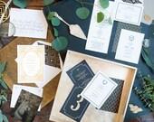 Gold Foil Wedding Invitation, Letterpress Invitation, Formal Wedding Invite, Wedding Invitation Suite, Black and Gold INVITATION SAMPLE PACK