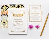 Gold Foil Wedding invitation, Gatsby Wedding Invitation, Art Deco Wedding Invitation, Art Nouveau Wedding Invitation, Letterpress