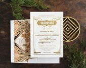 Gatsby Wedding Invitation, Letterpress Invite, Art Deco Wedding Invitation, Art Nouveau Invitation, Gold Wedding INVITATION SAMPLE PACK
