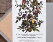 Flower Wedding Invitation, Floral Wedding Invite, Vintage Botanical Wedding, Romantic Wedding Invitation, Victorian INVITATION SAMPLE PACK