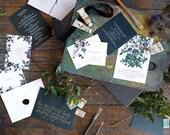 Floral Wedding Invitation, Flower Invite, Vintage Botanical Wedding Invitation, Letterpress Wedding, Victorian Flower INVITATION SAMPLE PACK