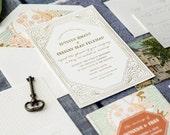 Gatsby Wedding Invitation, Vintage Wedding Invitation, Letterpress Wedding Invitation, Gold Wedding Invitation, Gold Foil Wedding Invitation