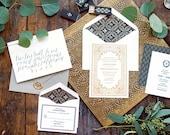 Gold Foil Wedding Invitation, Letterpress Wedding Invite, Formal Wedding, Wedding Invitation Suite, Black and Gold INVITATION SAMPLE PACK