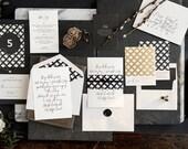 Simple Wedding Invitation, Letterpress Wedding Invite, Blue Wedding Invitation, Calligraphy Invitations INVITATION SAMPLE PACK