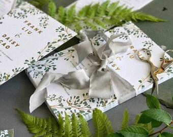 Vine Wedding Invitation, Green Gold Wedding Invite,  Botanical Wedding Invitation, Gold Foil, Modern, Neutral Garden INVITATION SAMPLE PACK