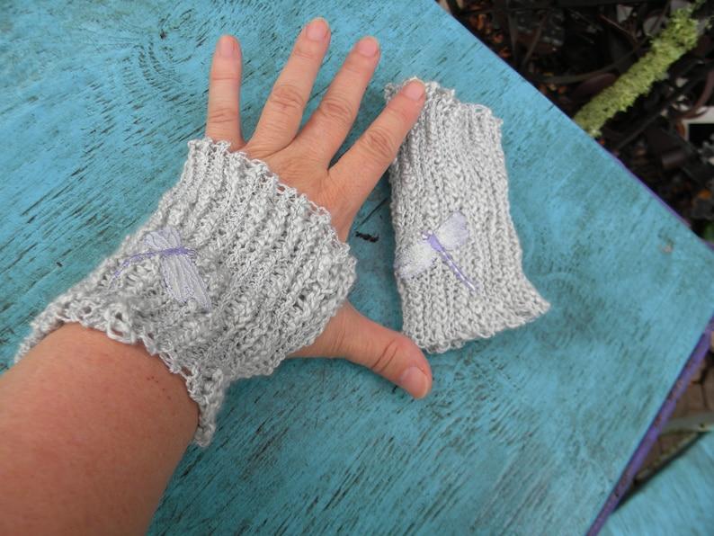 DragonFly Fingerless Gloves arm warmer gothic victorian hippie image 0