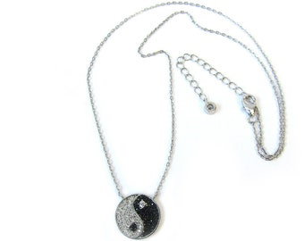2 ext. YIN YANG NECKLACE Sterling Silver Black and Clear Cubic Zirconia Yin Yang Pendant Necklace 16