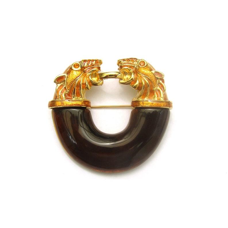 ALEXIS KIRK BROOCH Vintage Alexis Kirk  Gold Metal Amber Lucite Tiger Brooch 2.25/'