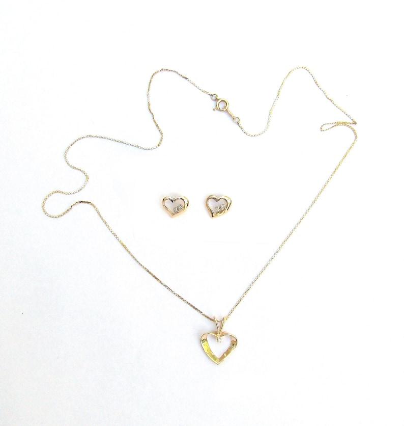 HEART GOLD DIAMOND Vintage 14k Solid Yellow Gold Natural Diamond Heart Pendant Necklace /& Heart Diamond 14k Solid Gold Stud Earrings Set 18