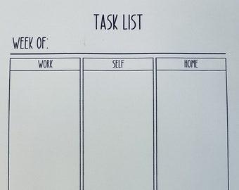 Task List Organizer - Printable