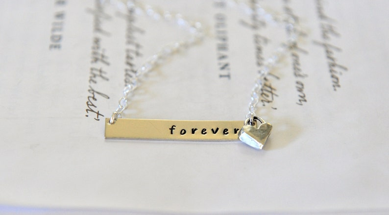 3a8704530dda5 Silver Bar Necklace Nina Proudman Style Forever Necklace Word Necklace  Inspiration Jewellery Sterling Silver Artisan Heart