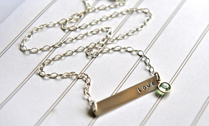 7db29fdf9cb40 Love Bar Necklace Sterling Silver Birthstone Jewelry Nina Necklace Offspring