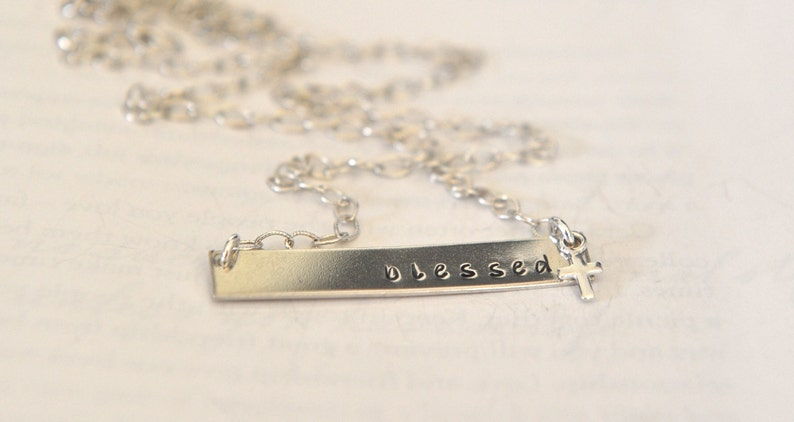 9c34e8ecee85e Blessed Nina Necklace Bar Necklace Religious Cross Jewelry Sterling Silver  Bar Inspirational Words Necklace Nina Proudman Style Jewelry