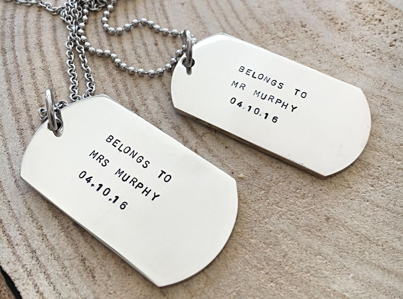 Dog Tag Necklace Matching Necklaces His And Hers Jewelry Hand Stamped Gift For Him Personalized Anniversary Gift Bride Groom Gift