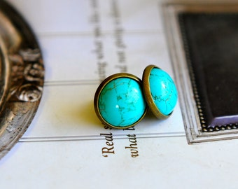 Turquoise Stud Earrings, 2 Sizes As Per Pictures, Simulated Gemstone Earrings, Australian Jewellery, Large Round Studs, Sevenblueberries