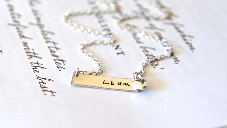 01ff70d694f7d Name Bar Necklace, Nina Proudman Style, Name Necklace, Petite Bar Necklace  With Heart, Minimalist Jewellery, Horizontal Bar Necklace