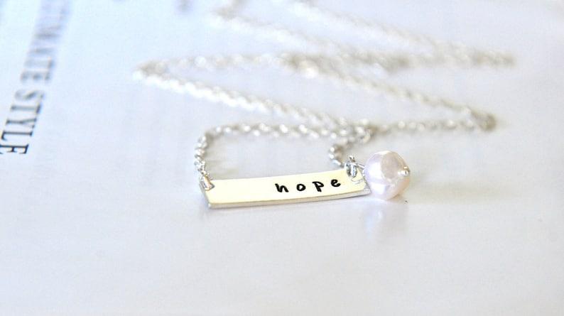 8f00cbdff39b1 Nina Proudman Style Love Necklace, Personalized Bar Necklace, Petite Bar  Necklace, Hope Love Inspiration Jewelry