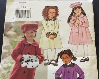 Girl's Coat Hat and Muff Butterick Pattern P287 Size 6 7 8 DIY Sewing Jacket