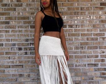 a1e2f1383 Custom Hand Crochet Fringe MAXI SKIRT, Floor Length Long Fringe,swimsuit  cover up, bikini cover up, Bohemian, Belly Dance,Vanilla Cream