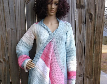 Hand Crochet Drape Sweater, Crochet Cardigan, Wrap Cardigan, Ladies Sweater,