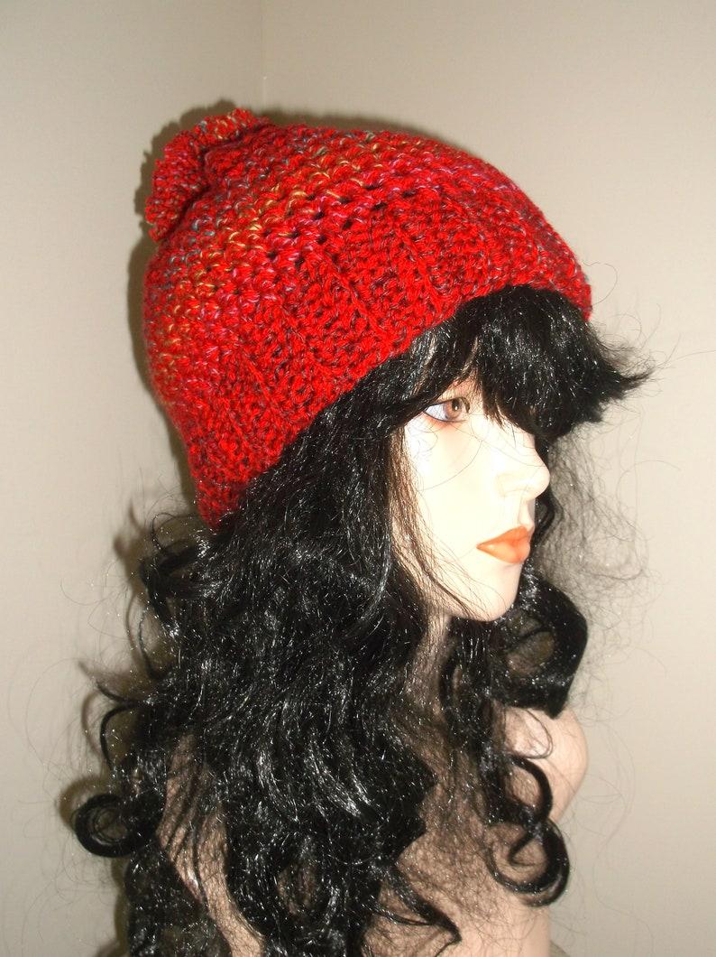 Crochet RED Mesh Hat Pom Pom Hat Slouch Hat Winter Hat  1d48e85672