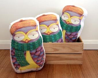 Owl Cushion, Owl Pillow, Grumpy Melbourne Owl Cushion, Quirky Owl Cushion, Illustrated Owl Pillow, Gift for Kids