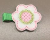 Felt Light Pink/White/Green Flower Single Prong Hair Clip