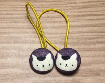 """7/8"""" Size 36 Black/White/Purple Kitty Cat Fabric Covered Button Hair Tie / Ponytail Holder / Party Favor (Set of 2)"""