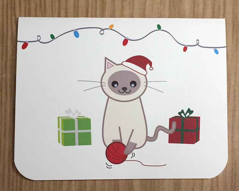Cat with Santa Hat and Christmas Gifts A2 Folded Cards  Meowy image 0