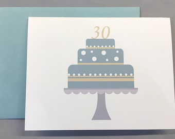 Seafoam/White/Light Yellow Birthday Cake Custom Birthday A2 Folded Card