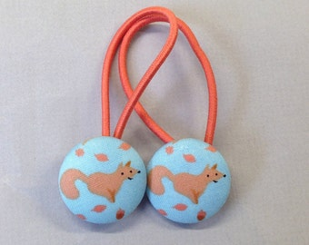 """7/8"""" Size 36 Seafoam Blue/Orange Fox with Leaves Fabric Covered Button Hair Tie / Ponytail Holder / Party Favor (Set of 2)"""