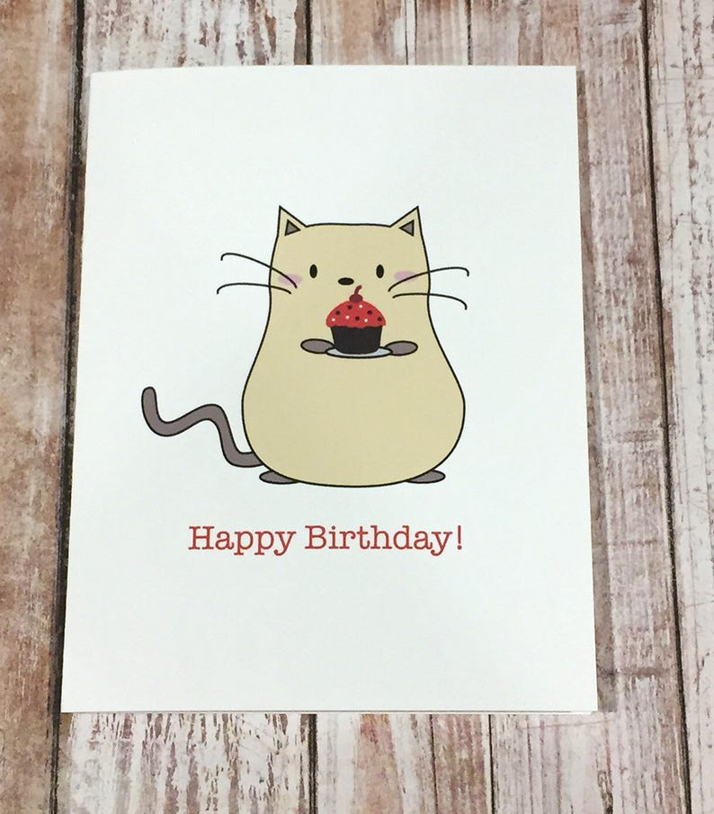 Peanut Cat Collection  Yellow Cat with Cupcake Happy Birthday image 0