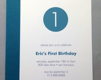 Teal/Grey/White Circle with Number A2 Flat Note Birthday Party Invitations (Set of 10)