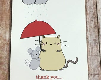 """Peanut Cat Collection - Yellow Cat and Gray Mouse Holding Umbrella """"Thank You For Being Such a Wonderful Friend"""" Friendship A2 Folded Card"""