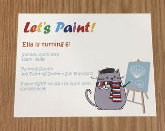 """Peanut Cat Collection - Britou Grey Cat """"Let's Paint"""" A2 Flat Note Birthday Party Invitations (Choose your envelope color) (Set of 10)"""
