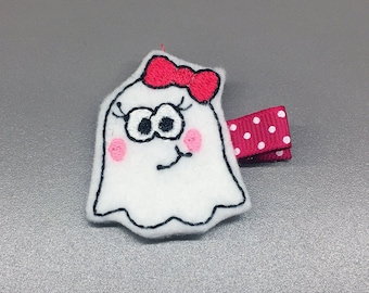 Felt Halloween White Ghost with Pink Bow Alligator Single Prong Hair Clip