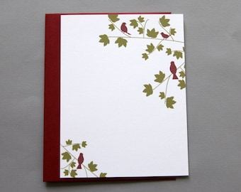 Red Birds in Trees A2 Flat Note Cards (Set of 10)