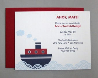 Steamboat A2 Flat Note Birthday Party Invitations (Choose your envelope color) (Set of 10)