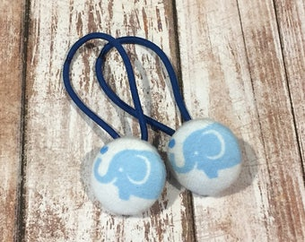 """7/8"""" Size 36 Light Blue/White/Cyan Blue Elephant with Heart Fabric Covered Button Hair Tie / Ponytail Holder / Party Favor (Set of 2)"""
