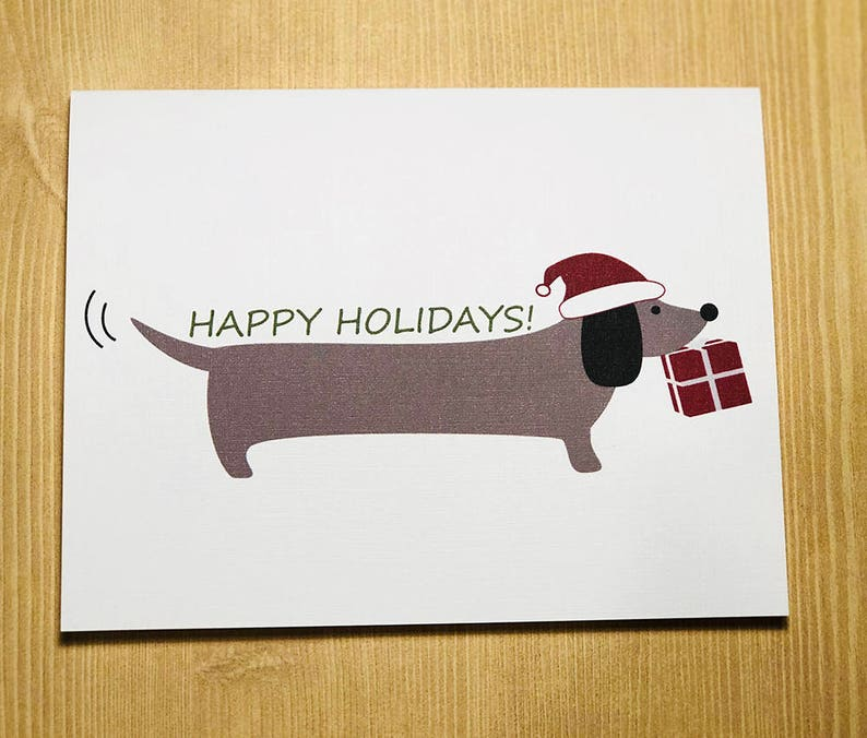 Dachshund Dog Happy Holidays A2 Folded Cards Set of 10 image 0