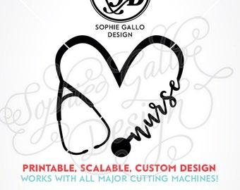 Nurse Love Stethoscope SVG DXF PNG digital download files for Silhouette Cricut vector clipart graphic Vinyl Cutting Machine Screen Printing