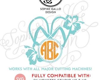 0e7603cceb28 Flip Flop Hibiscus Monogram SVG