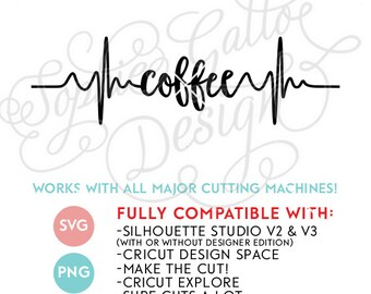 Coffee Pulse Heart Beat SVG DXF & PNG digital download file Silhouette Cricut vector clipart graphic Vinyl Cutting Machine ScreenPrinting